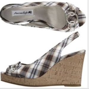American eagle plaid open toe cork wedge sandals